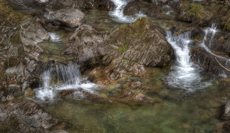 A babbling brook with water flowing photo