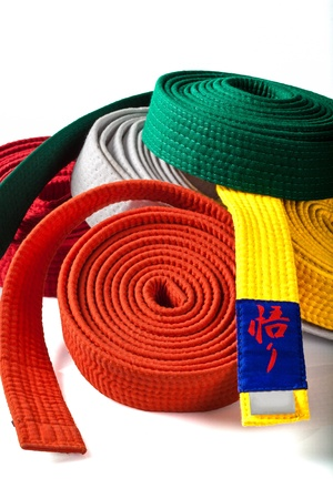 Shot of Karate belts againt a a white background Stock Photo - 13654074