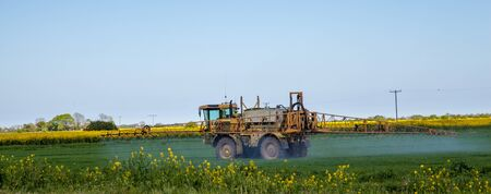 Crop spraying in green field photo