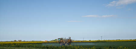 Crop spraying with large blue sky, photo