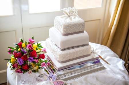 Wedding cake with flowers photo