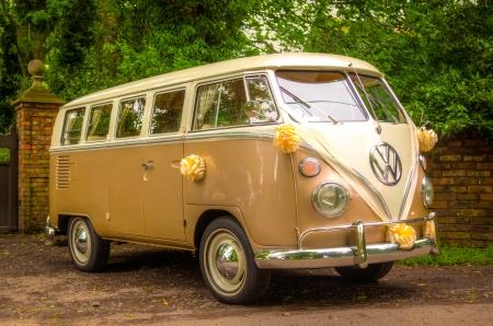 transporter: A VW Wedding camper van with flowers