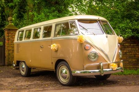 vw: A VW Wedding camper van with flowers