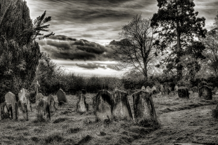 christian halloween: Gravetard sunset black and white Stock Photo