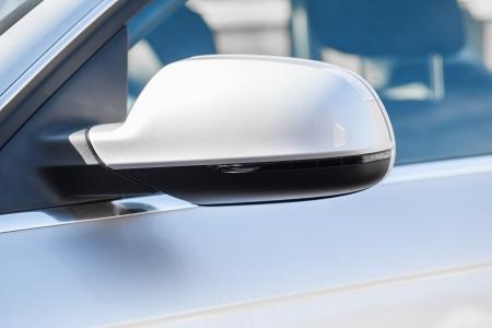 rear view mirror: Silver car wing mirror Stock Photo