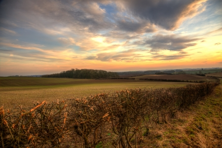 wold: View of Sunset in the Lincolnshire wolds Stock Photo