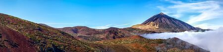 Mt teide volcano and clouds panorama photo