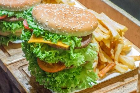beefburger: Big Beefburger and chips