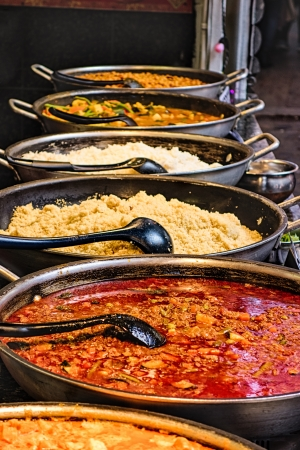 Street food curries in dishes Stock Photo - 19623828