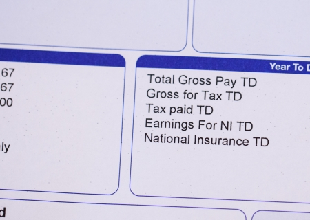 paycheck: Payslip close up Macro