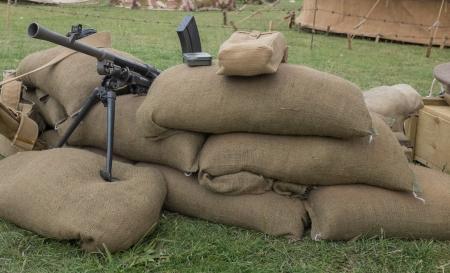 sandbag: retro picture of a machine gun nest