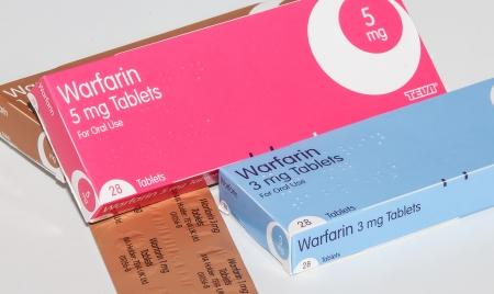 anticoagulant: Cleethorpes, England - December 21, 2013: Boxes of anticoagulant drug warfarin on white background