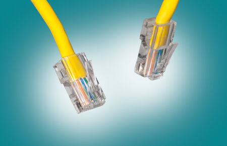 close upshot of lan cable networking photo