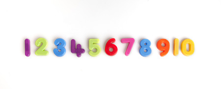 numbers one to ten in plastic Stock Photo