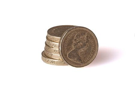 Pound coins stack shot in studio photo