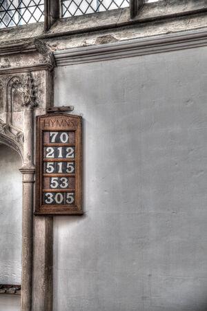 Hymm Board in a church