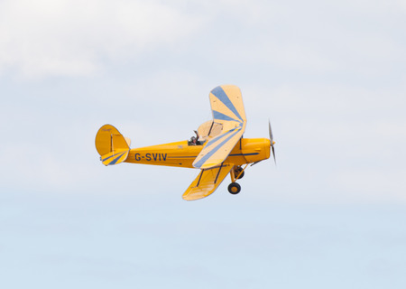 CLEETHORPES, ENGLAND JULY 27TH: Stampe  perform an aerobatic display at Cleethropes airshow on 27th July 2014 in Cleethorpes England.