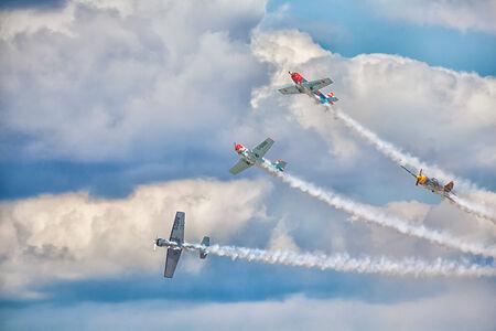 CLEETHORPES, ENGLAND JULY 27TH: Aerostars perform an aerobatic display at Cleethropes airshow on 27th July 2014 in Cleethorpes England.