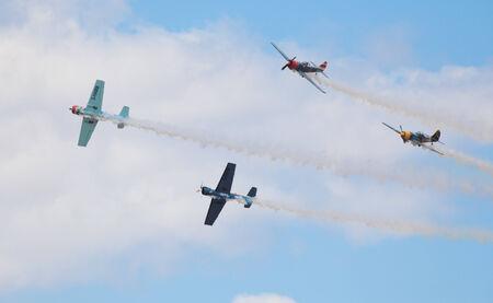 airshow: CLEETHORPES, ENGLAND JULY 27TH: Aerostars perform an aerobatic display at Cleethropes airshow on 27th July 2014 in Cleethorpes England.