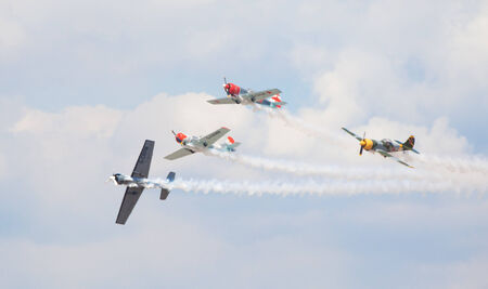aerobatic: CLEETHORPES, ENGLAND JULY 27TH: Aerostars perform an aerobatic display at Cleethropes airshow on 27th July 2014 in Cleethorpes England.