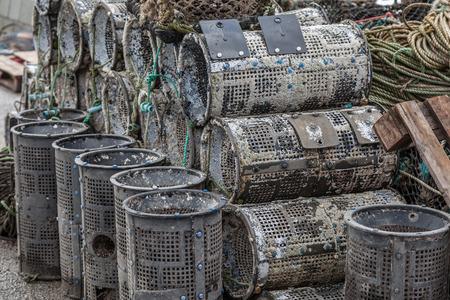 crab pots: Lobster and crab pots at harbour