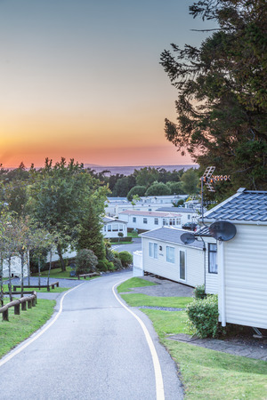 uk: Caravan park at sunset in the UK