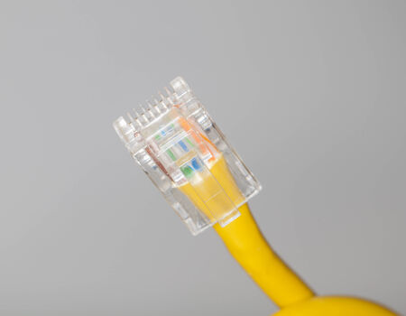 close upshot of lan cable networking photo