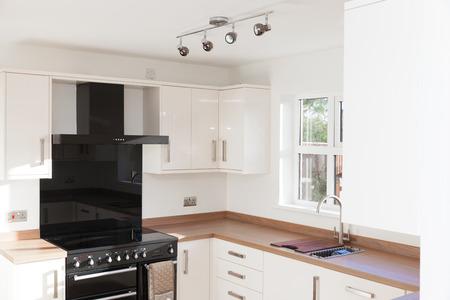 custom cabinet: Kitchen interior with wooden worktops shot