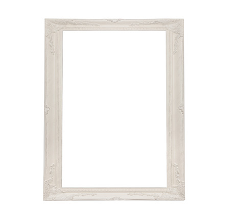 antique white frame with white background Standard-Bild