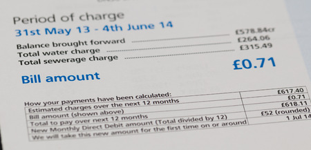 utility payments: Close up of a water utility bill Stock Photo
