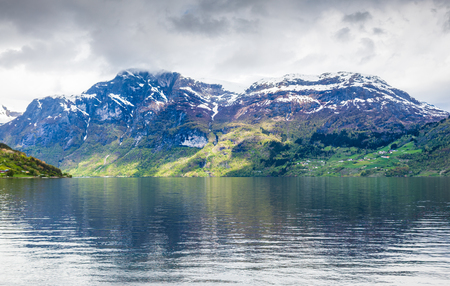 moutains: norwegian fjord with moutains and water