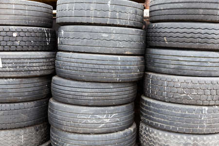 stacked up: Pile of tyres stacked up
