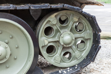 close up of a tank track Stock Photo