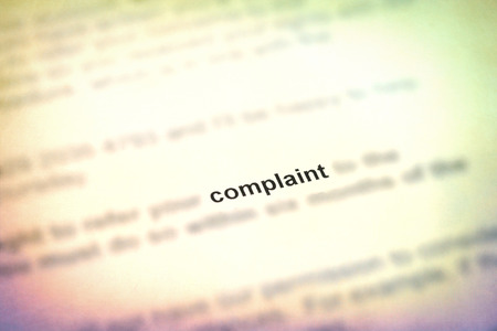 complaint: Letter with a complaint with blurred detail Stock Photo