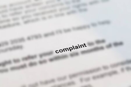 Letter with a complaint with blurred detail Stock Photo