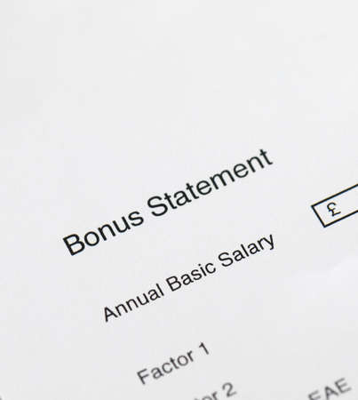 Bonus statement on a white background