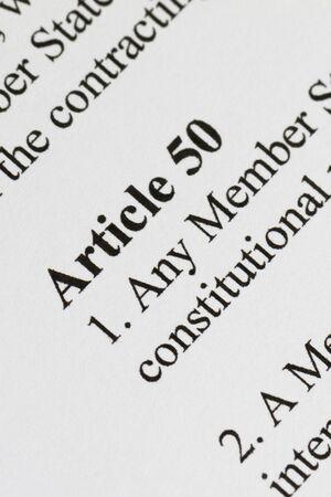 Brexit Article 50 close up macro shot Stock fotó
