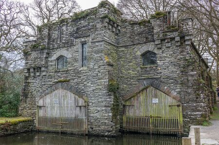 Stone boat house in the lake district UK Stock Photo