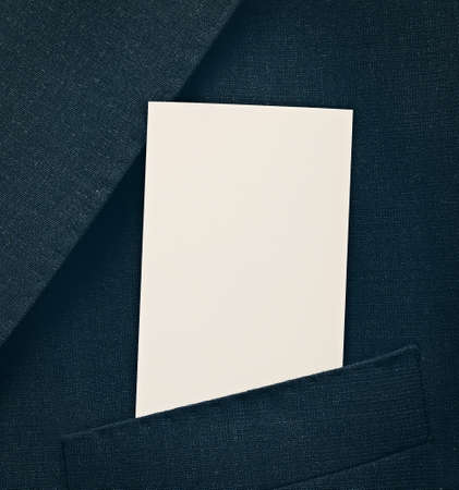 Blank business card in a suit pocket