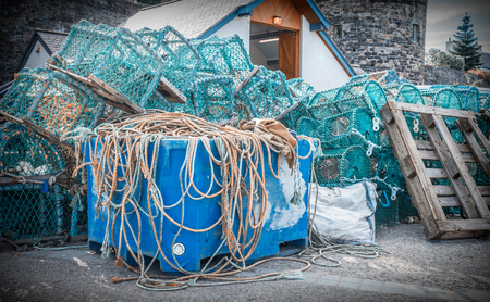 Fiahing nets on the quayside Banque d'images