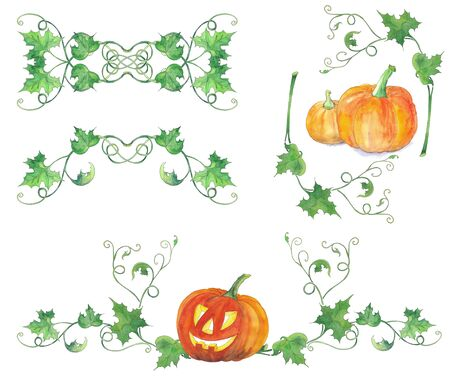 Set of decorations with halloween pumpkins and green leaves. Original watercolor pattern.