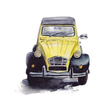 yellow car: Watercolor illustration of vintage yellow car