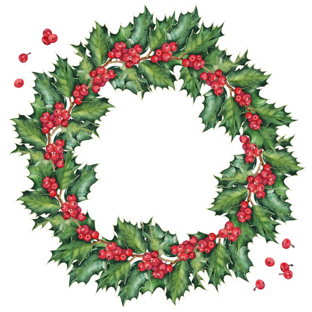 Wreath of green Christmas holly branches. Original watercolor hand drawn pattern.