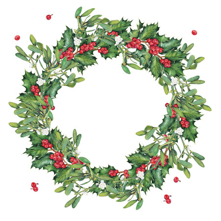 omela: Wreath of green Christmas holly branches. Original watercolor hand drawn pattern.