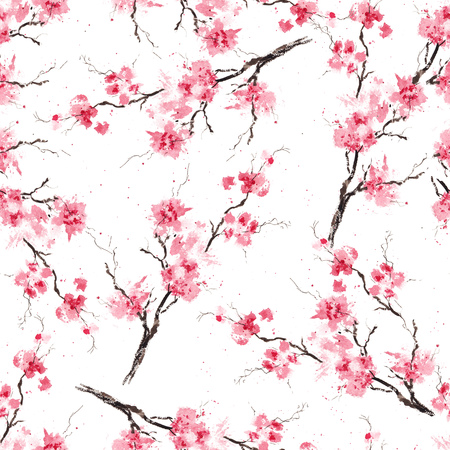 Seamless pattern with sakura branches. Original watercolor background.