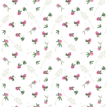 Seamless pattern with flowers of clover and greenary. Original isolated on white watercolor painting.