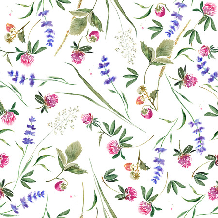 Seamless pattern with clover, lavender, strawberry berries and herbs. Hand drawn watercolor painting