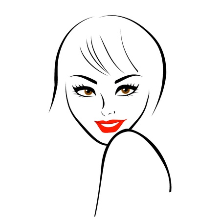 Abstract lady in maroon lipstick Vector