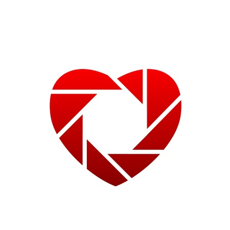 handy cam: Heart shaped photographic icon