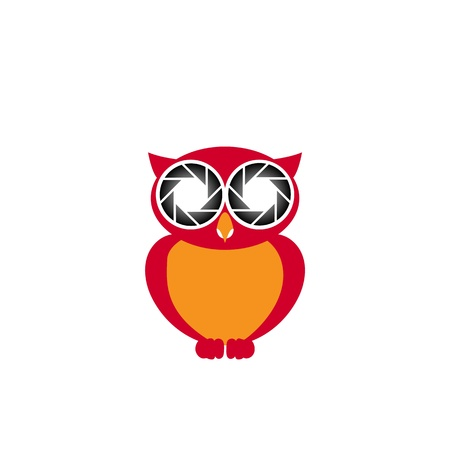 Owl with photographic focus Illustration